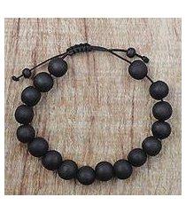 ebony wood beaded bracelet, 'chic silhouettes' (ghana)