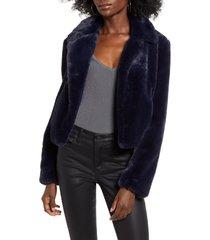 women's blanknyc cropped faux fur jacket, size x-small - blue