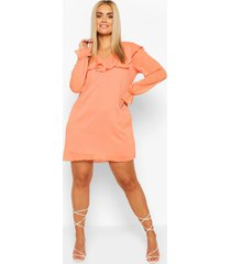 plus dobby chiffon ruffle shift dress, coral