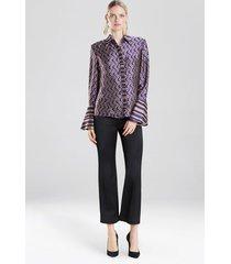 deco jacquard button front blouse, women's, purple, size 0, josie natori