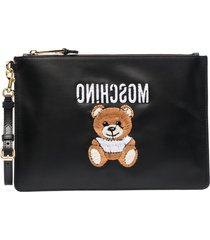 moschino embroidered teddy clutch bag - black