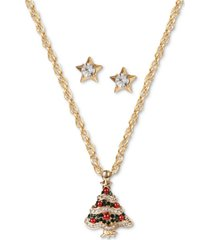 charter club gold-tone crystal & imitation pearl tree pendant necklace & star stud earrings set, created for macy's