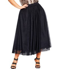 plus size women's city chic tulle midi skirt, size small - black