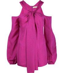 emilio pucci x koché off-shoulder tie-neck blouse - pink