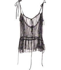 black silk semi-sheer ruched fruit blouse