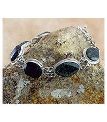 jade link bracelet, 'ya'ax chich duality' (guatemala)