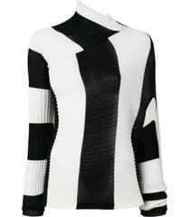 black and white draped knit top