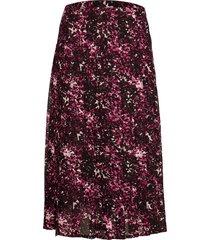 chiffon knife pleat midi skirt knälång kjol lila calvin klein