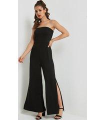 black strapless tight waist slit hem jumpsuit