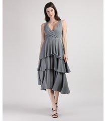 vestido feminino mindset midi canelado em camadas com transpasse sem manga cinza mescla escuro