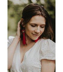 czerwone kolczyki łowicz folkowe chwosty sutasz