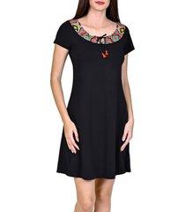 korte jurk lisca zomerjurk korte mouwen haïti zwart