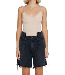 agolde ribbed bodysuit, size x-small in nude at nordstrom