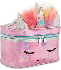 kid's faux fur unicorn train case