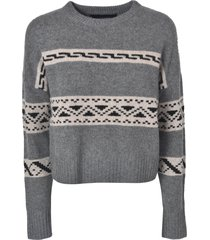 360 sweater stripe detail ribbed sweater