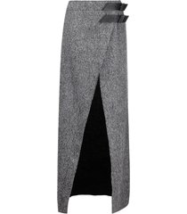 the attico grey virgin wool skirt