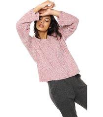 sweater rosa moni tricot chenille