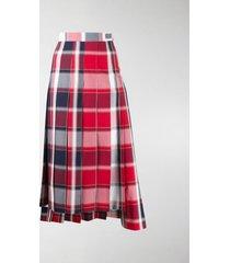 thom browne pleated check midi skirt
