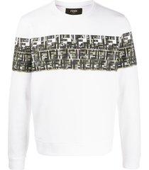 fendi ff camouflage print sweatshirt - white