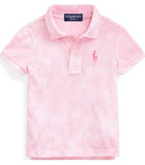 toddler girls pink pony tie-dye mesh polo shirt