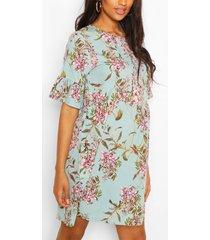 zwangerschap gesmokte satijnen bloemenprint jurk, turquoise