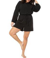 plus size women's eloquii tie waist long sleeve knit romper, size 14w/16w - black