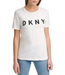 dkny women's foundation stitched logo t-shirt - white black - size xs