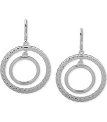 anne klein basket weave textured orbital drop earrings
