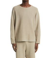men's homme plisse issey miyake rustic cotton blend sweater, size one size - beige