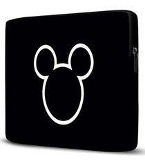 capa para notebook mickey 15 polegadas com bolso preto - feminino