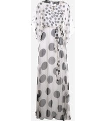 valentino long dress in printed chiffon with cape sleeves