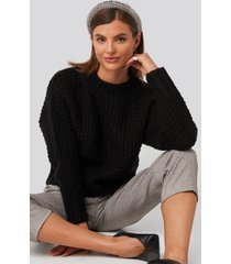 na-kd trend heavy knitted wide rib sweater - black