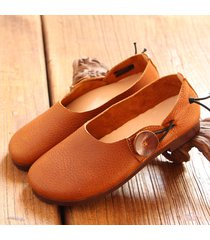 socofy scarpe basse in pelle vera slip-on con bottone con suola morbida comoda