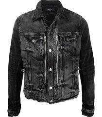 amiri distressed-effect bandana-detail denim jacket - black