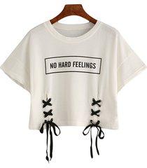 t-shirt causali con scollo a o manica corta fasciatura stampa lettere
