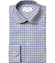 men's eton slim fit check dress shirt, size 17.5 - brown