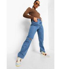 gescheurde boyfriend jeans met hoge taille, mid blue
