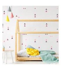 adesivo de parede quartinhos triangulos 105un roxo e rosa