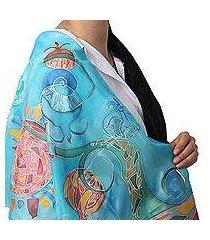 hand painted silk batik scarf, 'summer circus' (armenia)