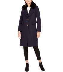 calvin klein single-breasted faux-fur walker coat