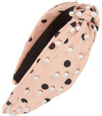 tasha pearly knot headband in blush/black at nordstrom