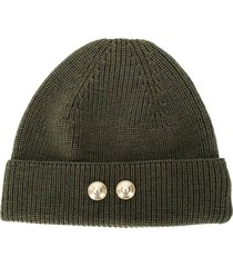barena button beanie hat - green