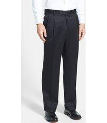 men's berle pleated classic fit wool gabardine dress pants, size 34 x unh - black