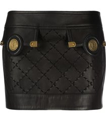 balmain low-rise check mini skirt - black