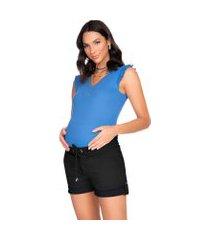 blusa megadose moda gestante t- shirt azul