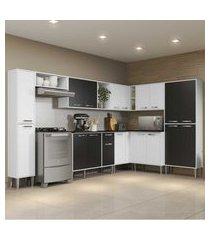 cozinha completa com armário e balcáo com tampo 9 peças xangai rock multimóveis branca/preta