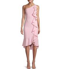 one-shoulder ruffle midi dress