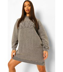 acid wash gebleekte nyc hoodie jurk, charcoal