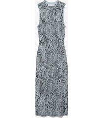 proenza schouler white label dot jacquard knit dress dusty blue/black l
