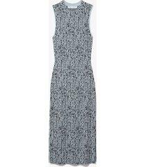 proenza schouler white label dot jacquard knit dress dusty blue/black m